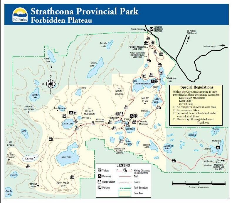 Strathcona Park Map Forbidden Plateau Trail