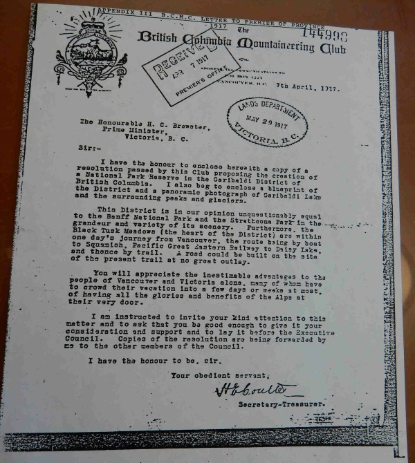 BCMC Letter to Minister - 1917